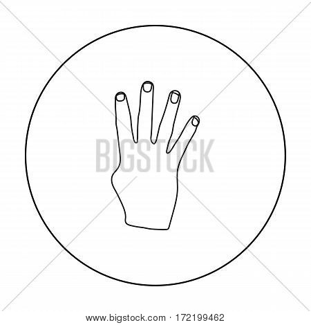 Rabia sign icon in outline style isolated on white background. Hand gestures symbol vector illustration.