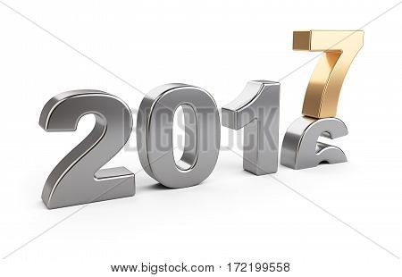 New Year 2016 - 2017 golden and silver number seven top. 3d illustration isolated on a white background.