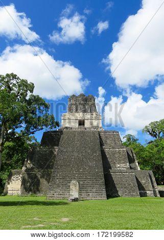 Mayan stepped pyramid among the Tikal ruins in Peten, Guatemala