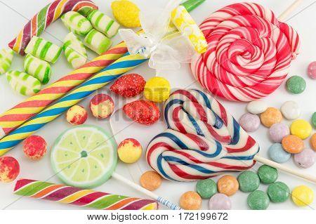 Colorful Lollipops Bonbons And Candies