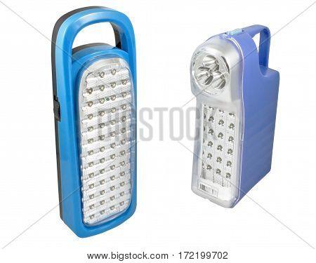 the blue plastic led flashlight on white