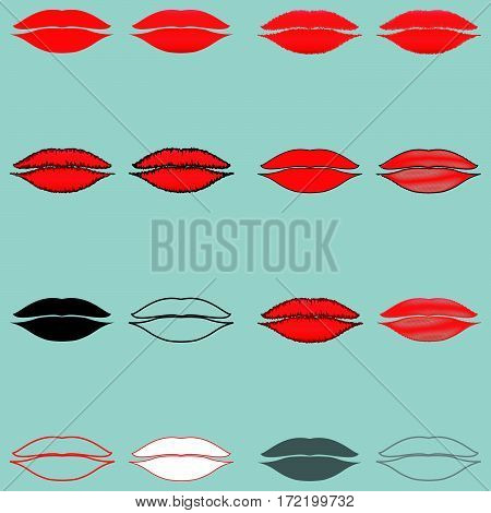 Different lips red black grey and white -set icons.