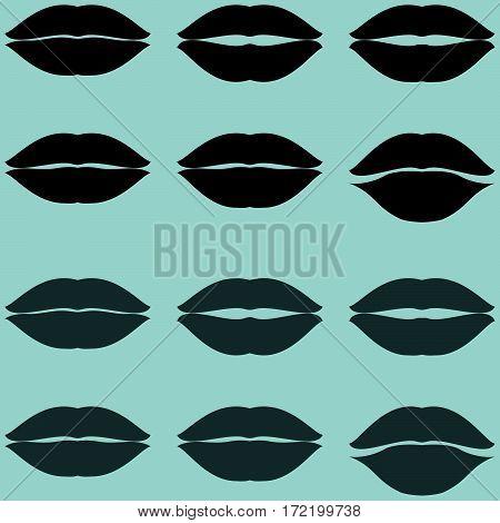Lips black and grey twelve items - set icons.