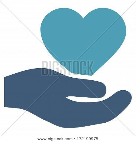 Love Heart Offer Hand flat icon. Vector bicolor cyan and blue symbol. Pictogram is isolated on a white background. Trendy flat style illustration for web site design logo ads apps user interface.