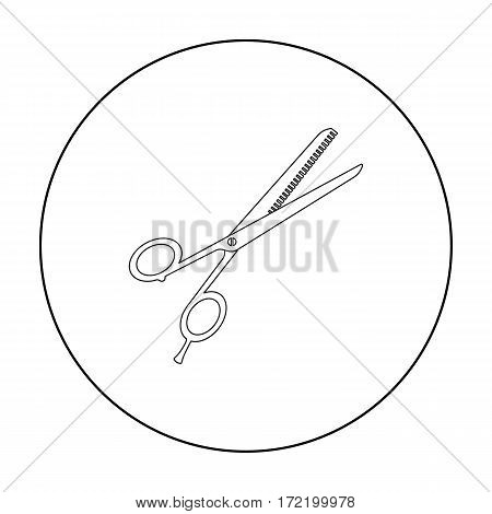 Thinning shears icon in outline style isolated on white background. Hairdressery symbol vector illustration.