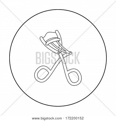 Eyelash curler icon in outline style isolated on white background. Hairdressery symbol vector illustration.
