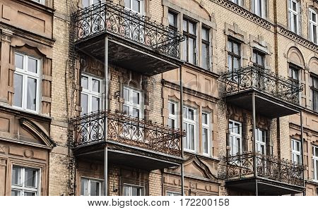 Art Nouveau facade of the building with metal balconies in Poznan