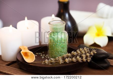 Structure of elements of Spa on a table. Close up.
