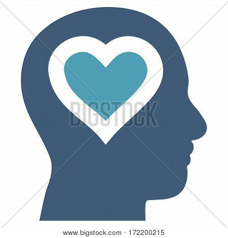 Love In Head flat icon. Vector bicolor cyan and blue symbol. Pictograph is isolated on a white background. Trendy flat style illustration for web site design, logo, ads, apps, user interface.