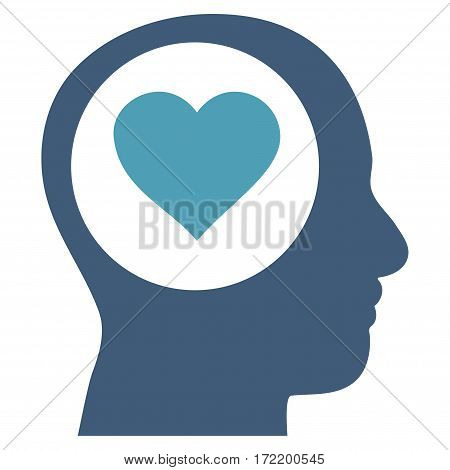 Love Thinking Head flat icon. Vector bicolor cyan and blue symbol. Pictogram is isolated on a white background. Trendy flat style illustration for web site design, logo, ads, apps, user interface.