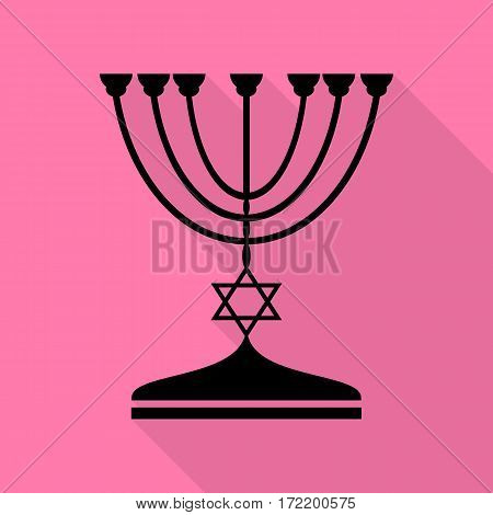 Jewish Menorah candlestick in black silhouette. Black icon with flat style shadow path on pink background.