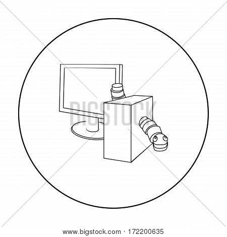 Computer worm icon in outline design isolated on white background. Hackers and hacking symbol stock vector illustration.