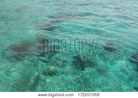 Background reflection of clear water. Caribbean sea.