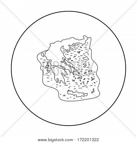 Greece territory icon in outline style isolated on white background. Greece symbol vector illustration.