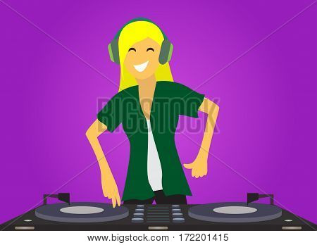 Funny girl DJ mixing music on console