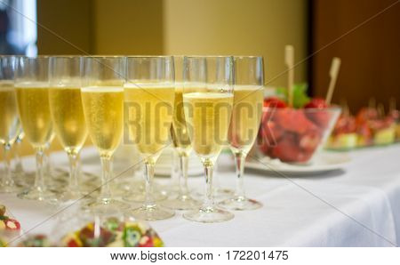 Champagne And Strawberries At The Reception