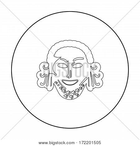 Greek antique mask icon in outline style isolated on white background. Greece symbol vector illustration.