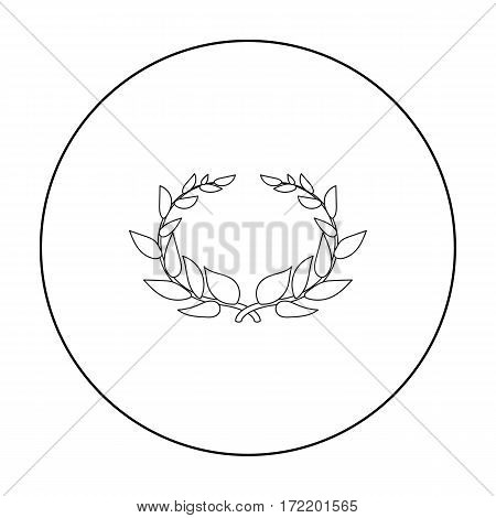 Laurel wreath icon in outline style isolated on white background. Greece symbol vector illustration.