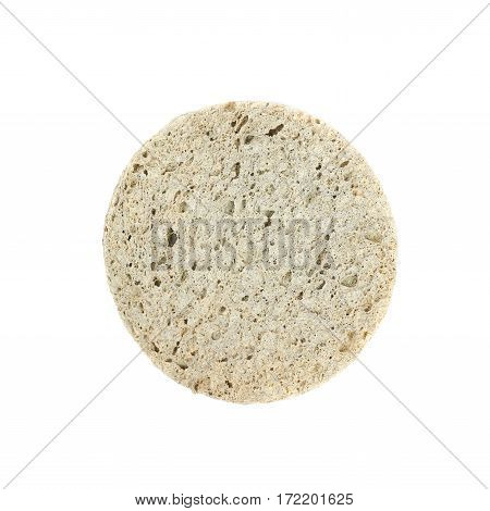 Used make-up face cleaning round sponge isolated over the white background