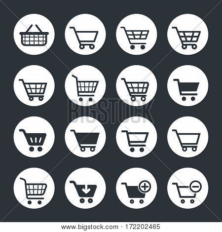 shopping cart icons set, vextor trolley icons
