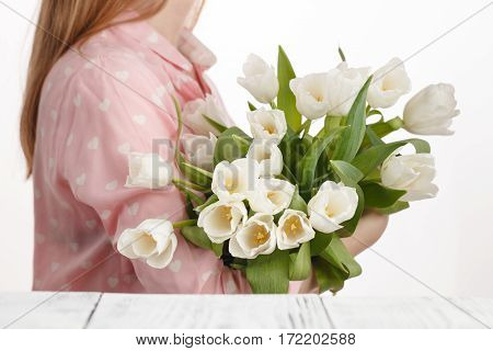 Girl With A Bouquet Of Freshly Bestowed Tulips