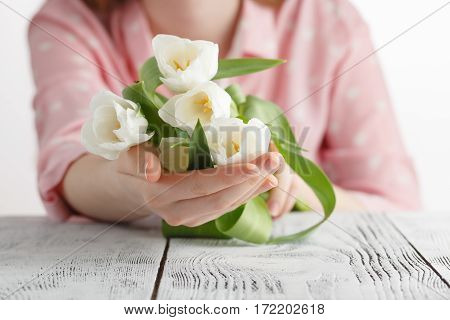 Symbol Of Love Romance, Girl Has Just Bestowed A Bouquet Of White Tulips