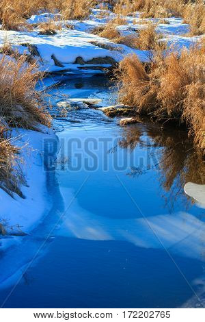 Vertical image of a stream in winter close up.