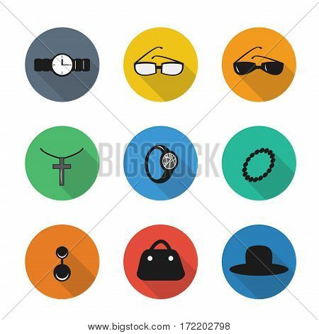 Vector flat icons in color rounds. Accessories