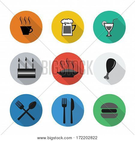 Vector flat icons in color rounds. Food and drink