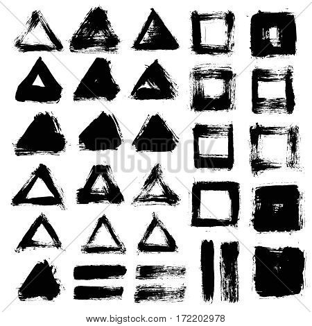 Grunge paint vector. Painted brush strokes. Triangle and square text box set. Distress texture backgrounds. Hand drawn banners, labels, frames. Black textured design elements. Grungy scratch effect.