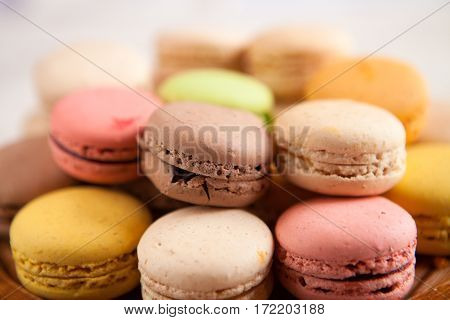 French Macaroons. Coffee, Chocolate, Vanilla And Raspberry Macaroons, Soft Focus