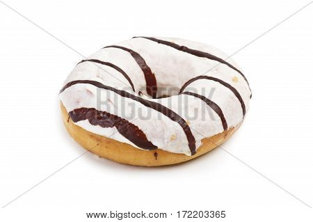 Frosted doughnut or donut on the white