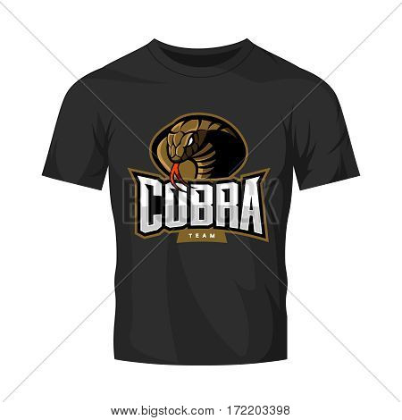 Furious cobra sport vector logo concept isolated on black t-shirt mockup. Modern web infographic professional team pictogram. Premium quality wild snake t-shirt tee print illustration.