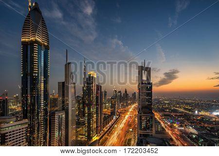 Sheik Zayed Road in Dubai in the UAE