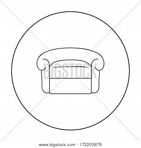 Armchair icon in outline style isolated on white background. Furniture and home interior symbol vector illustration.