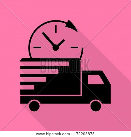 Delivery sign illustration. Black icon with flat style shadow path on pink background.