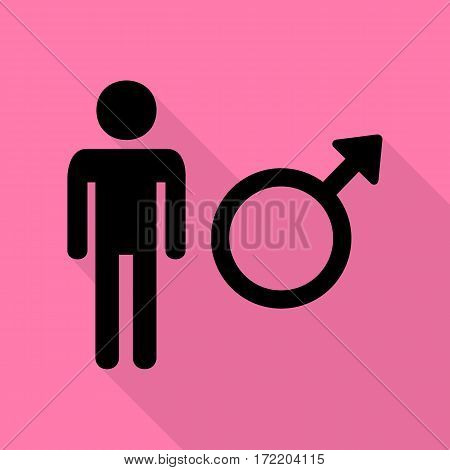 Male sign illustration. Black icon with flat style shadow path on pink background.