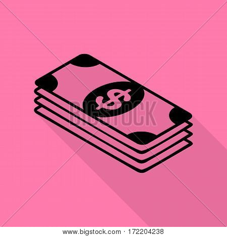 Bank Note dollar sign. Black icon with flat style shadow path on pink background.