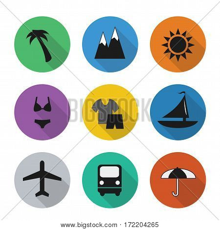 Vector flat travel icons in color rounds. Set