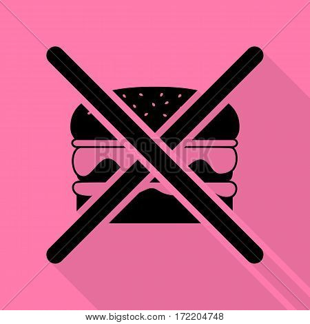 No burger sign. Black icon with flat style shadow path on pink background.