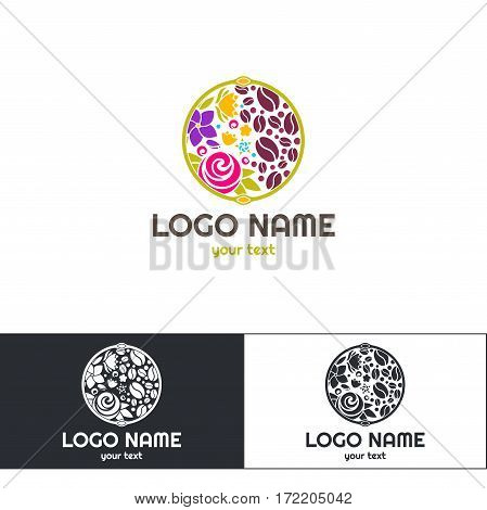 Logo of flowers and coffee. On a white background. Available options are black and white