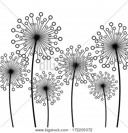 Abstract white background with black stylized decorative dandelions. Floral stylish trendy wallpaper with summer or spring flowers. Modern backdrop. Beauty of nature. Vector illustration