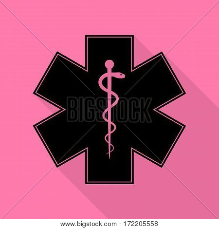 Medical symbol of the Emergency or Star of Life. Black icon with flat style shadow path on pink background.