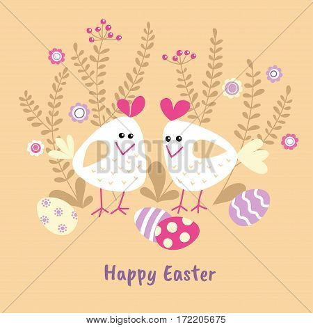 Two cute white chicken with painted eggs and sprigs. Vector illustration. Easter card design template.