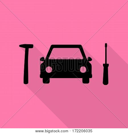 Car tire repair service sign. Black icon with flat style shadow path on pink background.