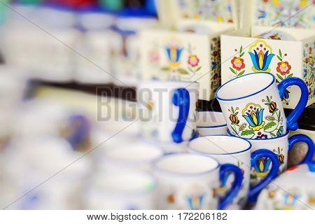 Colorful and decoration ceramics in traditonal polish market.