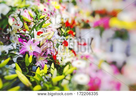 street Flower market in Riga in Latvia poster