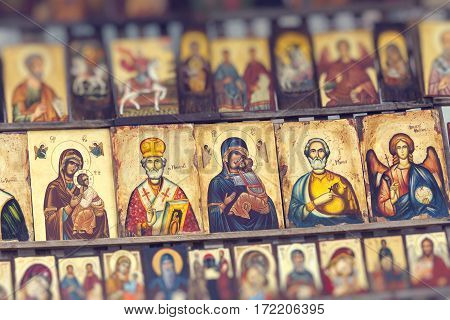 SOFIA BULGARIA APRIL 14 2016 :Wood made Orthodox religious painting icon in downtown Sofia Bulgaria.
