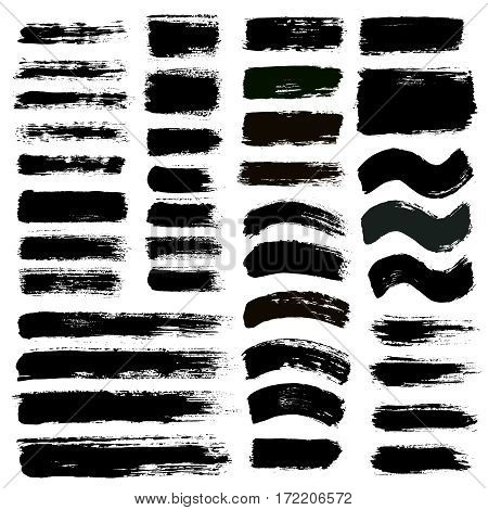 Grunge paint vector. Painted brush strokes stripes. Rectangle text box set. Distress texture backgrounds. Hand drawn banners, labels. Black textured design elements. Grungy scratch effect paintbrush