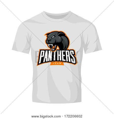 Furious panthers sport vector logo concept isolated on white t-shirt mockup. Modern web infographic professional team pictogram. Premium quality wild animal t-shirt tee print illustration.